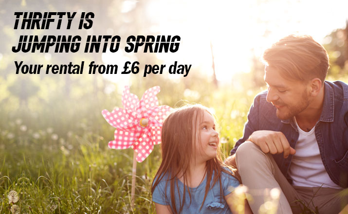 Thrifty is Jumping into Spring. Your rental from £6 per day