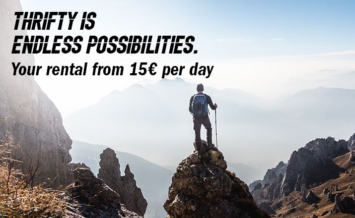 Thrifty is endless possibilities. Your rental from 15€ per day