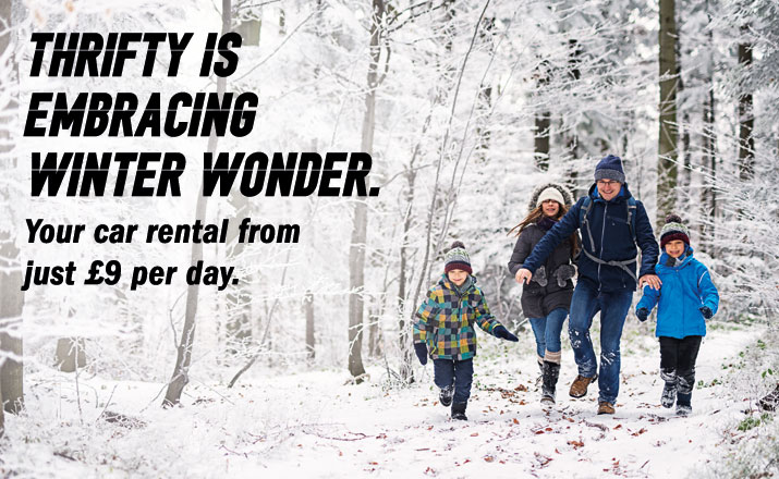 Thrifty is  Embracing Winter wonder.Your car rental from just £9 per day