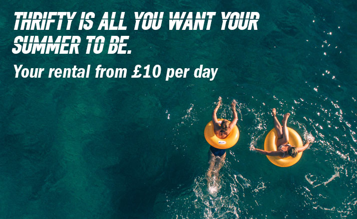 Thrifty is all you want your summer to be. Your rental from £10 per day