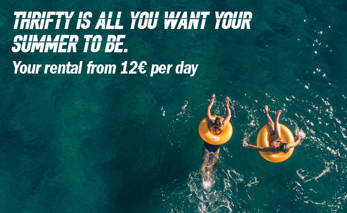 Thrifty is all you want your summer to be. Your rental from 12€ per day