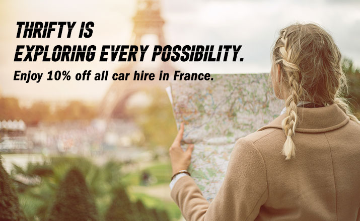 Thrifty is Exploring every possibility. Enjoy 10% off all car hire in France
